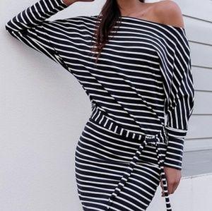 🆕Stripe One Shoulders Mini Dress
